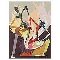 By the Fireside - Cubist Style Acrylic Painting of Fireside Scene in Ghana