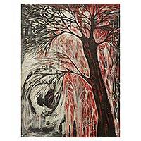 'Tree of Life' - Expressionist Painting of Healing Tree from Africa