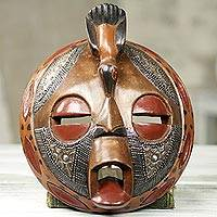African wood mask, 'Bird of Happiness' - Circular Hand Crafted and Painted West African Mask
