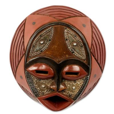 African wood mask, 'Praise God' - Handcrafted Circular West African Wall Mask in Red Tones