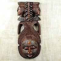 African wood mask, 'Vigilant Woman' - Artisan Hand Carved Authentic African Mask with Repousse