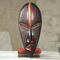 African wood mask, 'Akokoudurufuo' - African Wood Wall Mask Original Artisan Design