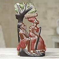 Wood wall panel, 'Agya Ni Maame' - Ghanaian Mom and Dad Hand Carved Wood Sculpture Panel