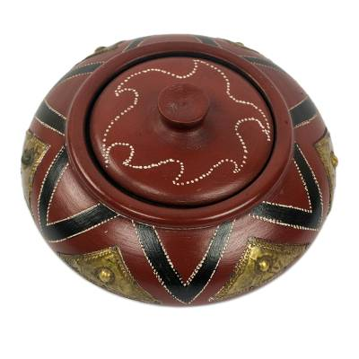 Artisan Crafted Ghanaian Decorative Wood and Brass Bowl