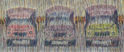 'Tro-tro Station II' - Unique African Original Painting of Ghanaian Buses