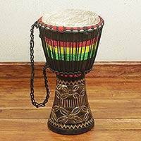 African djembe, 'Sound of Freedom' - Ghanaian Djembe Drum with Etched Motifs on Base