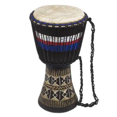 African Djembe Drum with Red White and Blue Accent