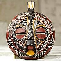 African wood mask, 'Victory Dove' - Bird Theme Folk Art Hand Carved African Mask