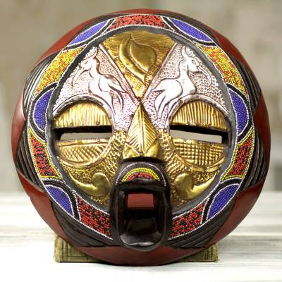 Beaded African wood mask, 'Promise of Prosperity' - Bead and Brass Repousse African Wall Mask with Animal Motifs