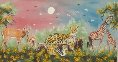 'Animal Kingdom' - Colorful Original Painting of African Wildlife in Acrylic