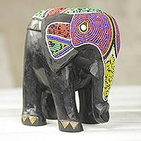 Beaded wood sculpture, 'Black Elephant Finery' - Brass Inlay and Beaded Wood Elephant Sculpture from Africa