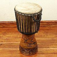 Wood djembe drum,