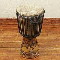 Wood djembe drum, 'Sankofa Beat' - Artisan Crafted African Adinkra Theme Djembe Drum (20 Inch)