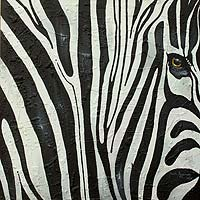 'Zebra Beauty II' (2014) - Realistic Signed Close-Up Painting of a Zebra