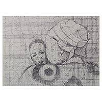 'Mother's Love I' - Intimate Mother and Child Ink Drawing by Ghanaian Artist