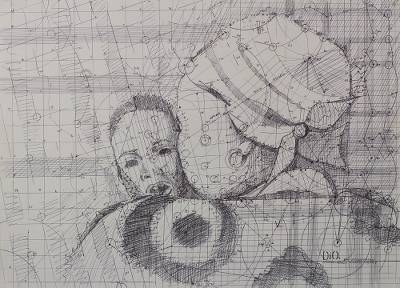 Intimate Mother and Child Ink Drawing by Ghanaian Artist