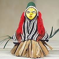 Wood display doll, 'Ancient African Warrior' - Handcrafted African Display Doll from Ghana