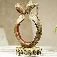 Wood sculpture, 'We are One in Love' - Abstract West African Wood Sculpture of Sweethearts