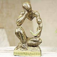 Wood sculpture, 'Reader' - Modern Ghanaian Wood Sculpture of a Man Reading a Book