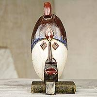 African wood mask, 'Baba Gonja' - Artisan Crafted West African Wood Wall Mask from Ghana