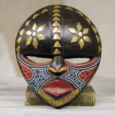 African wood mask, 'Barowa' - Hand Crafted West African Colorful Wood Wall Mask from Ghana