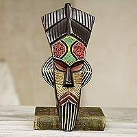 African wood mask, 'Kaarifi Sarki' - Hand Carved Multi-colored Wood Wall Mask from Ghana