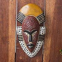 African wood mask, Ghanas Happiness - Hand Carved West African Wood Wall Mask from Ghana