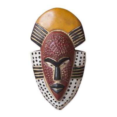 African wood mask, 'Ghana's Happiness' - Hand Carved West African Wood Wall Mask from Ghana