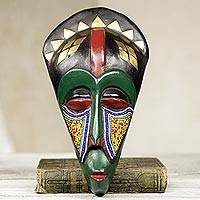 African wood mask, 'Mundao' - Artisan Crafted Wood Beaded Wall Mask from West Africa
