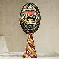 African wood mask, 'Sumsu' - West African Wood Mask with Brass and Recycled Glass Beads