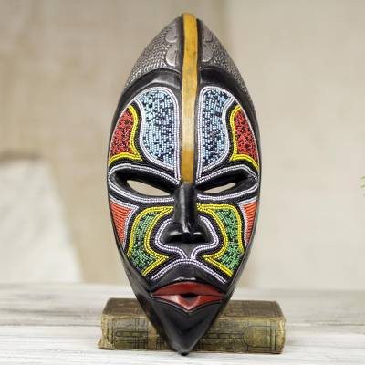 African wood mask, 'Bantu Zulu' - West African Wood Beaded Wall Mask from Ghana