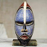 African wood mask, Zulu Blue - Artisan Crafted Blue African Mask in Wood and Aluminum