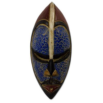 African wood mask, 'Zulu Blue' - Artisan Crafted Blue African Mask in Wood and Aluminum
