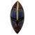 African wood mask, 'Zulu Blue' - Artisan Crafted Blue African Mask in Wood and Aluminum (image 2a) thumbail