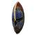 African wood mask, 'Zulu Blue' - Artisan Crafted Blue African Mask in Wood and Aluminum (image 2b) thumbail