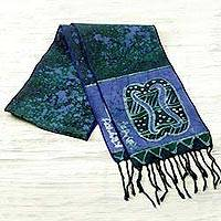 Cotton batik scarf, 'Blue Unity Chain'