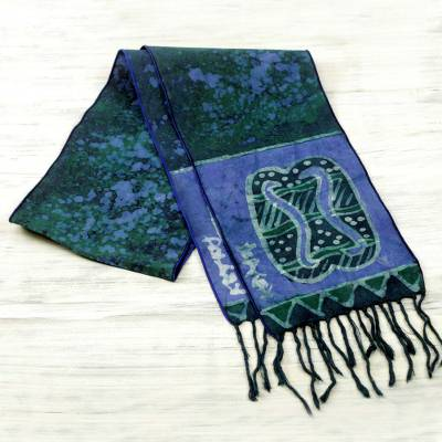 Cotton batik scarf, 'Blue Unity Chain' - Signed Blue Batik Adinkra Scarf Handcrafted in Ghana