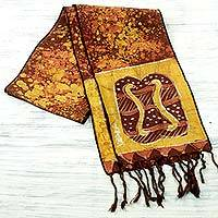 Cotton batik scarf, 'Golden Brown Unity Chain' - Signed Handcrafted Adinkra Scarf in Brown and Yellow