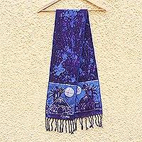 Cotton batik shawl, 'Blue Moonlight Village'