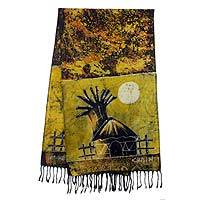 Cotton batik shawl, 'Golden Moonlight Village' - Signed Ghanaian Cotton Batik Shawl in Brown and Gold