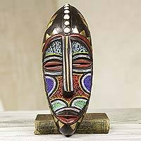 African beaded wood mask, 'Victorious One' - Hand Beaded Brass Inlay African Mask from Ghana