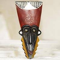 African wood mask, 'Always Good for Me' - Original Artisan Carved African Mask with Embossed Brass