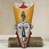 African wood mask, 'Saboni' - Colorful African Mask with Brass and Aluminum Accents