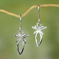 Sterling silver dangle earrings, 'A Free Spirit' - Sterling Silver Artisan Crafted Earrings from West Africa