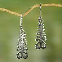 Sterling silver dangle earrings, 'Aya' - Sterling Silver Dangle Earrings with Adinkra Symbol of Fern