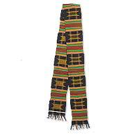 Cotton blend kente cloth scarf, 'Sika Gua' (5 inch width) - Hand Loomed Multicolored Kente Cloth Scarf (5 Inch Width)