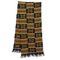 Cotton blend kente cloth scarf, 'Sika Gua' (15 inch width) - Colorful Cotton Blend Kente Cloth Scarf (15 Inch Width)