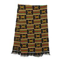 Cotton blend kente cloth scarf, 'Sika Gua' (20 inch width) - Ghanaian Artisan Crafted Kente Cloth Scarf (20 Inch Width)