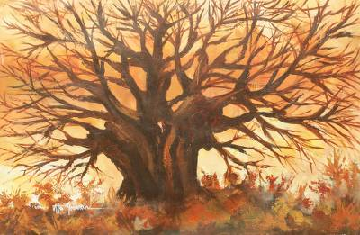 'The Baobab Tree' - Original Acrylic Landcape Painting of Baobab Tree