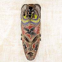 African wood mask, 'Phoenix Kingdom' - African Art Wood Wall Mask with Aluminum Bird and Lizards